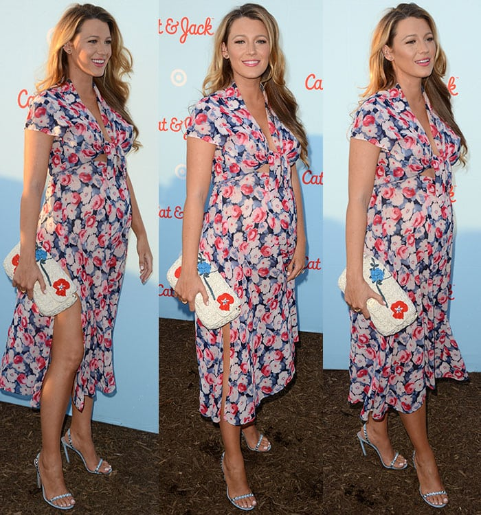 Pregnant-Blake-Lively-Lindsey-Thornburg-plunging-floral-dress