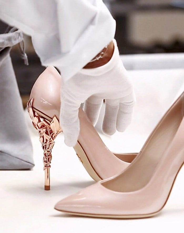 Featuring delicate vine leaves that are carefully hand assembled, the Eden pump is individually formed according to size.
