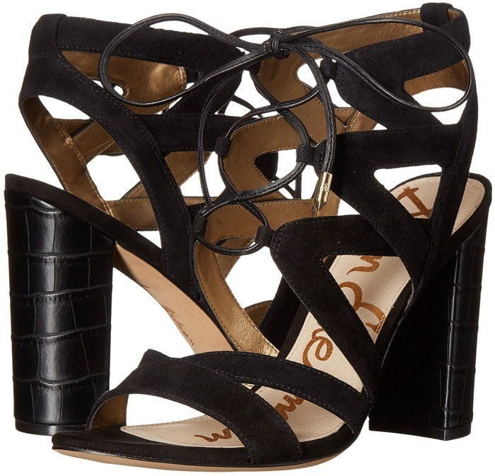 Sam Edelman 'Yardley' Lace Up Sandals Black Kid Suede Leather