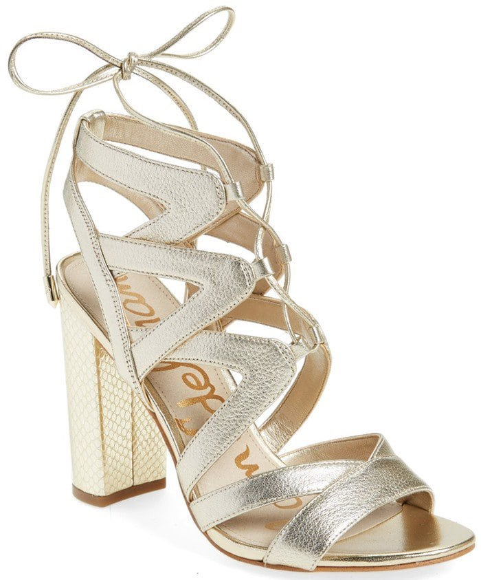 Sam Edelman 'Yardley' Lace Up Sandals June Metallic Leather