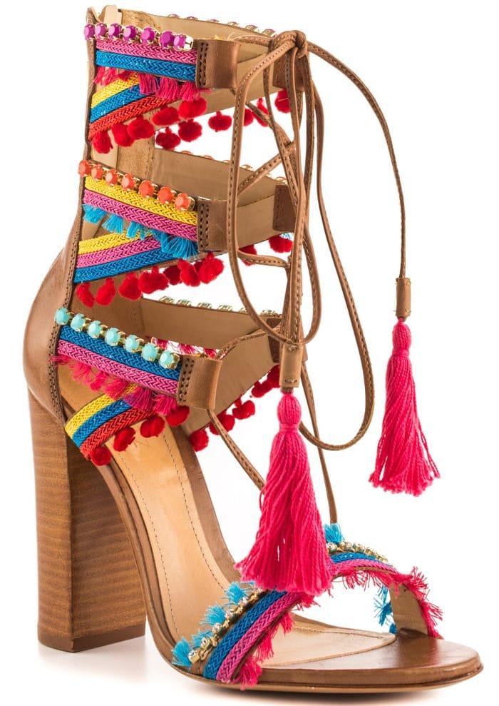 Schutz Calla Jeweled Leather Lace-Up Block-Heel Sandals
