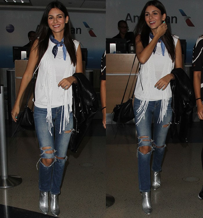 Victoria-Justice-white-fringe-top-silver-booties