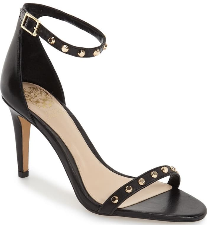 """Vince Camuto """"Cassandy"""" Studded Sandals in Black Napa Leather"""