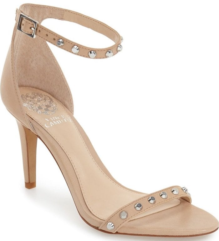 """Vince Camuto """"Cassandy"""" Studded Sandals in Powder Blush Napa Leather"""