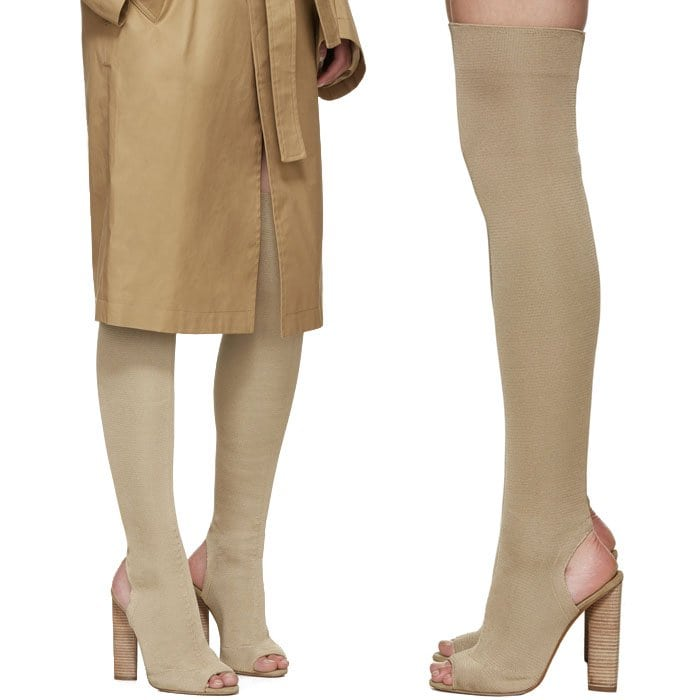 Yeezy Season 2 Knit Thigh-High Boots in Beige