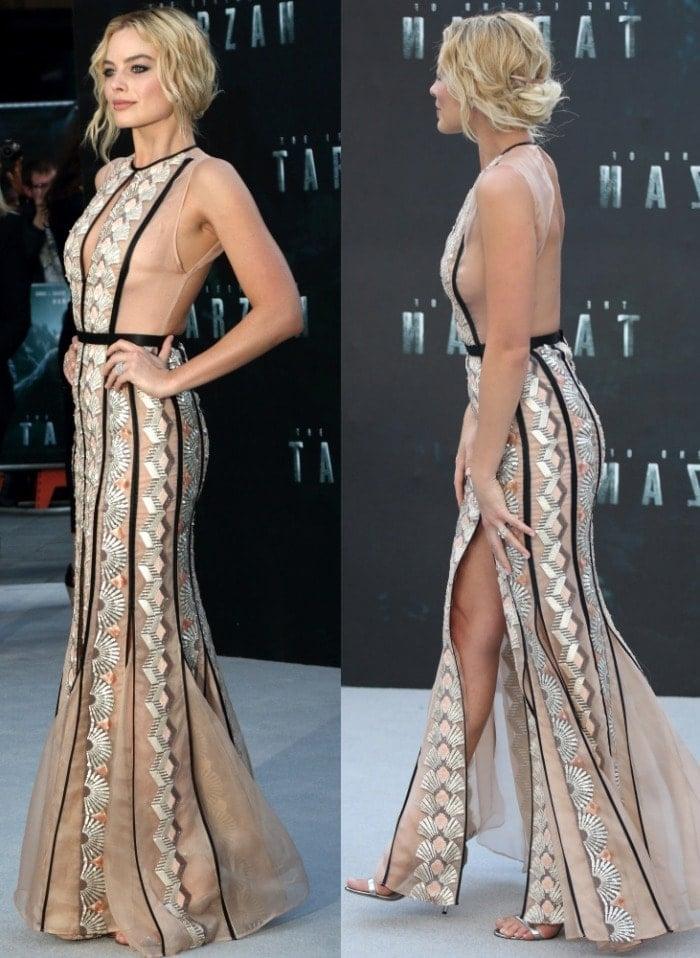 Margot Robbie In Miu Miu Gown And Metallic Bally Sandals