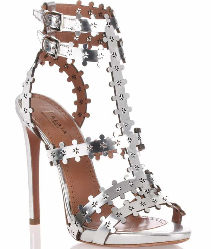 Alaia Metallic Leather Sandal
