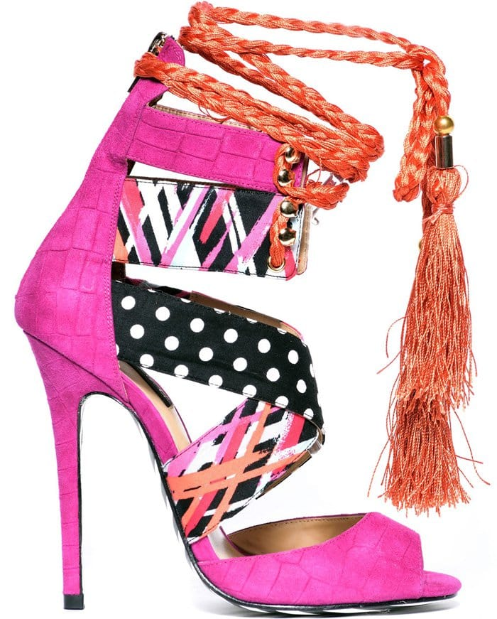 Alejandra G Santiago Mix Print Stiletto Sandals