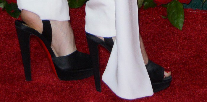 Allison Williams shows off her feet in Christian Louboutin Louloudance sandals