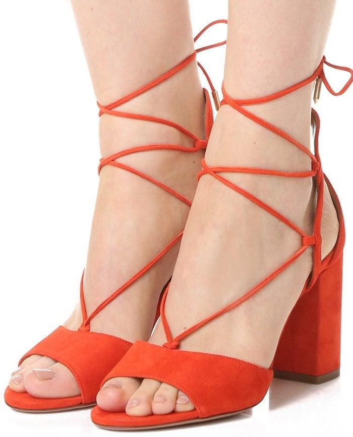 Aquazzura Austin Sandals in Blood Orange