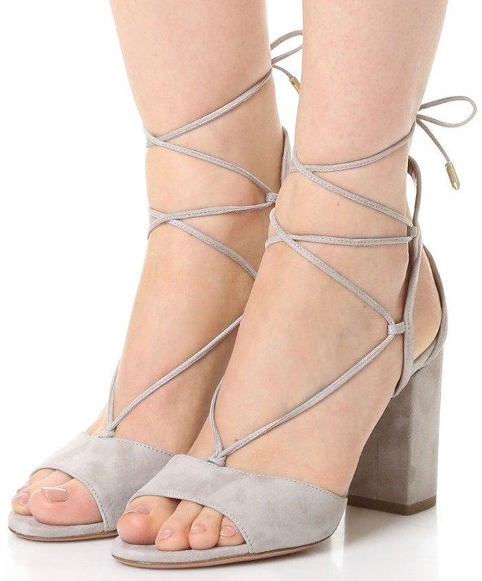 Aquazzura Austin Sandals in Light Grey