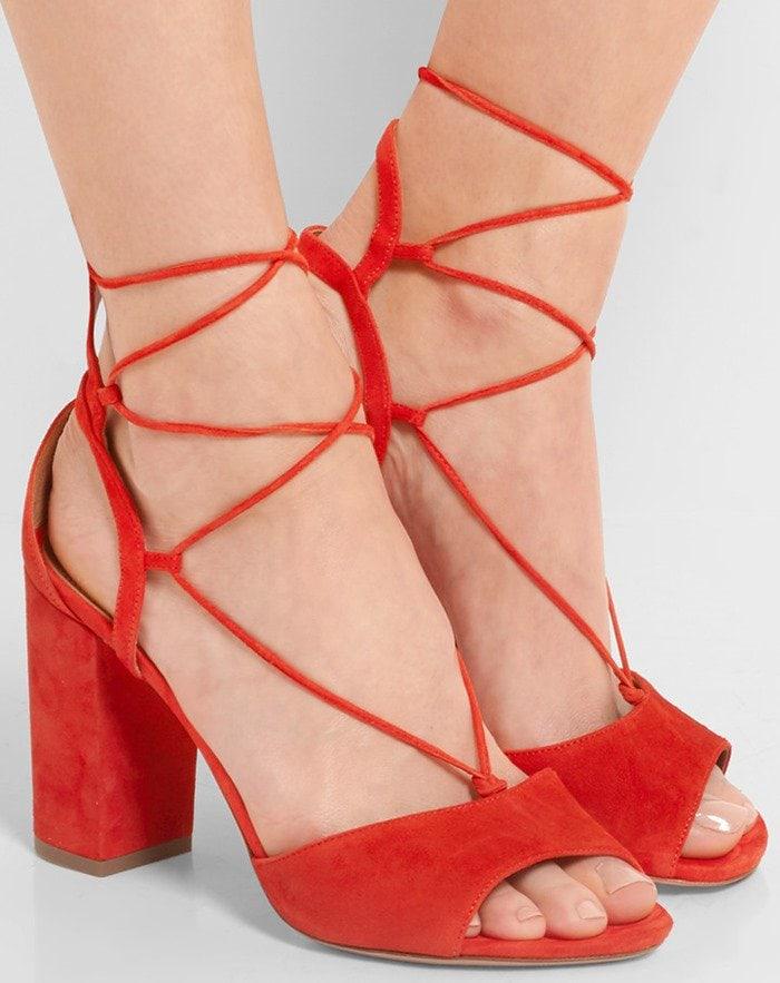 Aquazzura Austin lace-up suede sandals