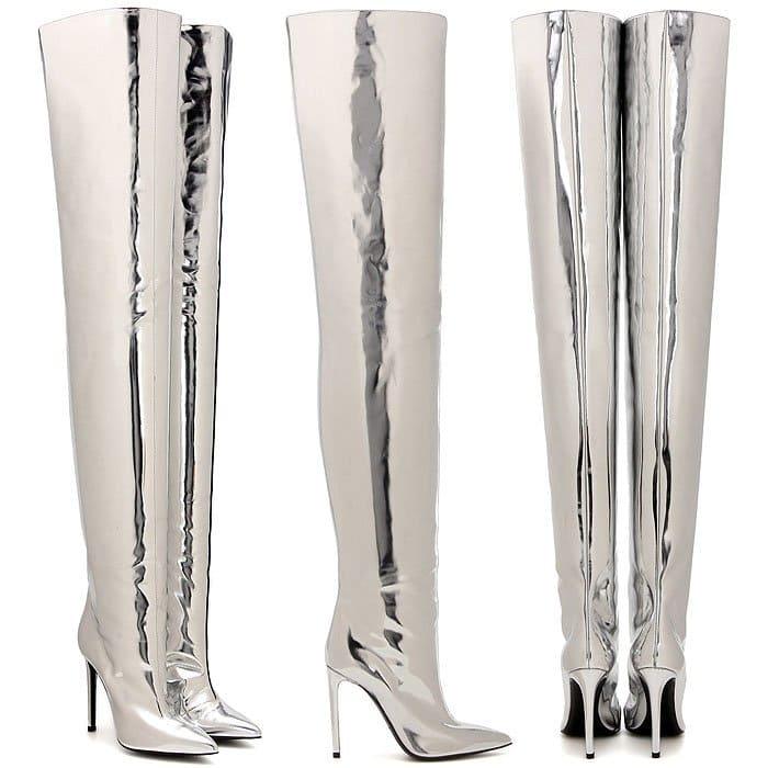 Balenciaga All Time silver thigh boots