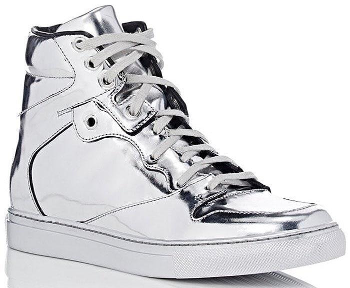 Balenciaga silver high top sneakers