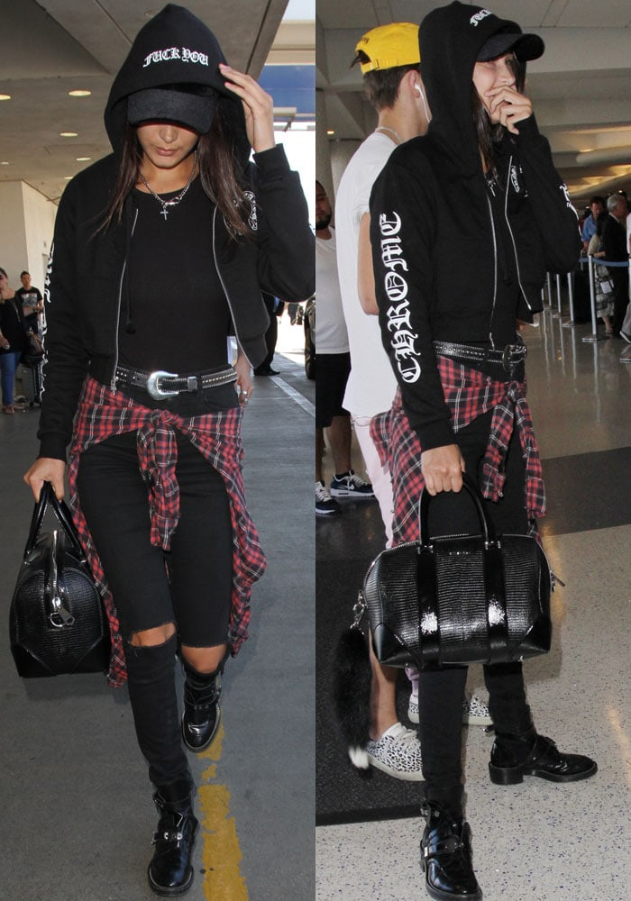 Bella Hadid LAX Mom Brother Balenciaga 2