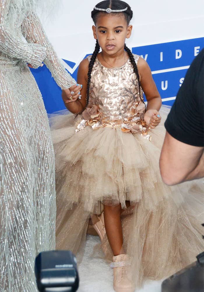 Blue Ivy Carter goes on the 2016 MTV Video Music Awards red carpet with mom Beyoncé at Madison Square Garden in Manhattan, New York City, on August 28, 2016
