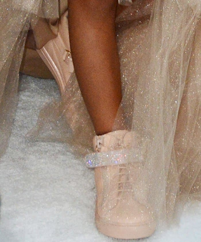 Designer baby: Blue Ivy wears the Giuseppe Zanotti Dolly sneakers in pink