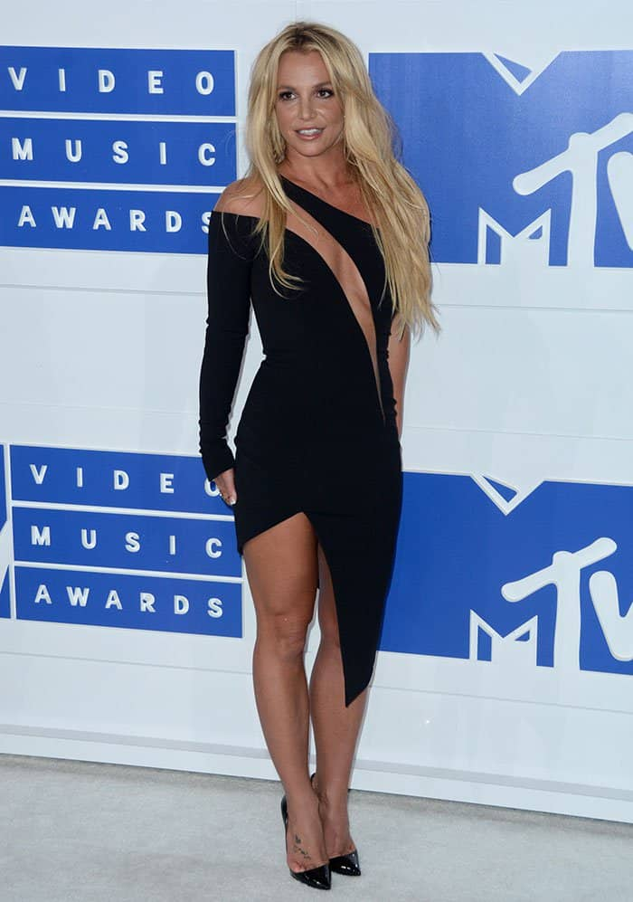 Britney Spears stormed the white carpet in a revealing black dress from Julien Macdonald's Fall 2016 collection