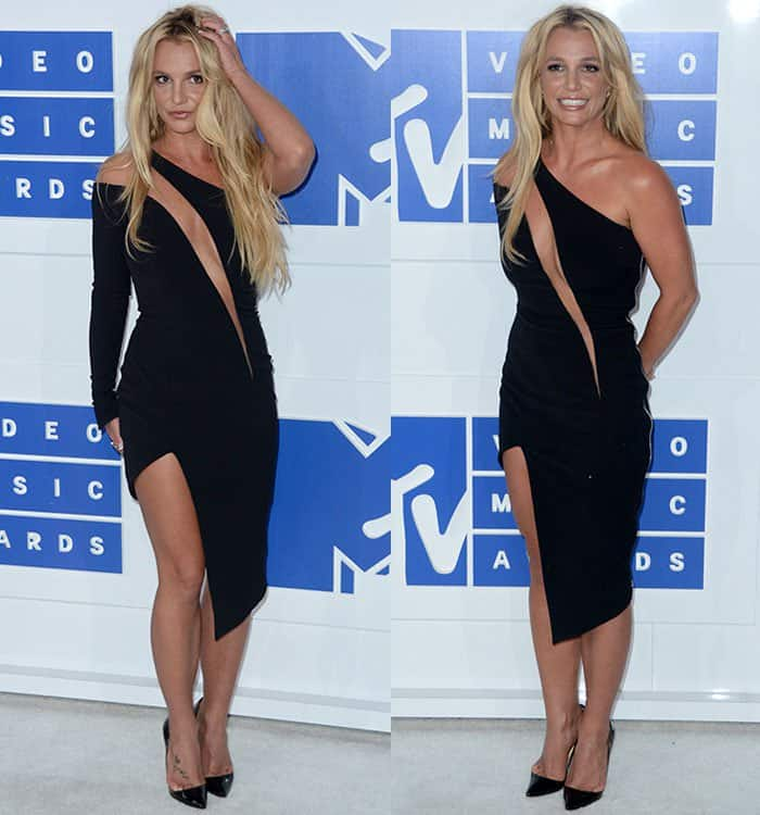 Britney's one-shoulder LBD features zip details and a strategically placed slashed panel that provided a glimpse of cleavage