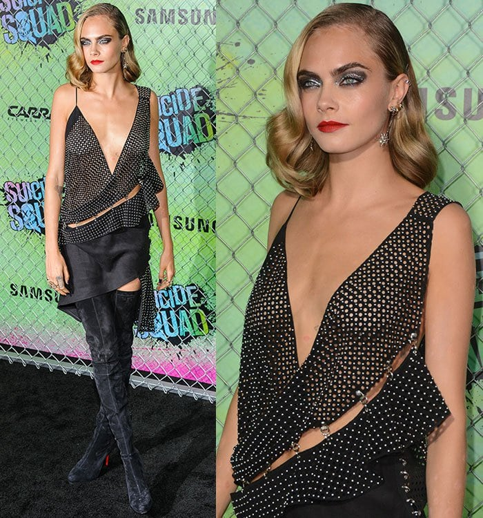 Cara-Delevingne-Anthony-Vaccarello-Studded-Perforated-Plunging-Asymmetric-Dress