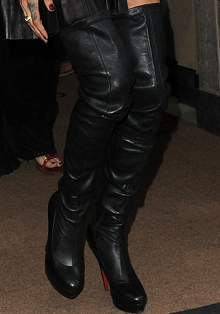 7ec56cbf8e0 Cara Delevingne wears her Christian Louboutin  Gazolina  thigh high boots  for the second time