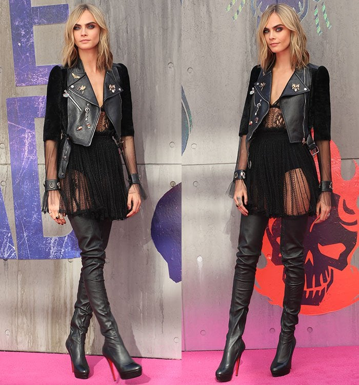 new concept 8b572 8d283 Cara Delevingne Stylish in Christian Louboutin 'Gazolina' Boots