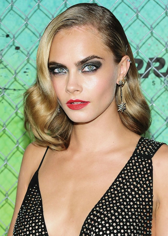 Cara-Delevingne-old-Hollywood-glamour-red-lipstick-wavy-hair