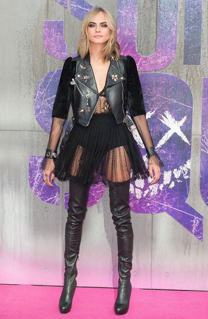 Cara-Delevingne-sheer-knit-dress-hot-pants-leather-jacket