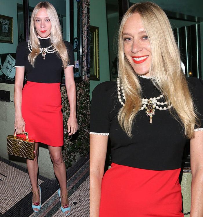 Chloe-Sevigny-Gucci-black-red-mini-dress