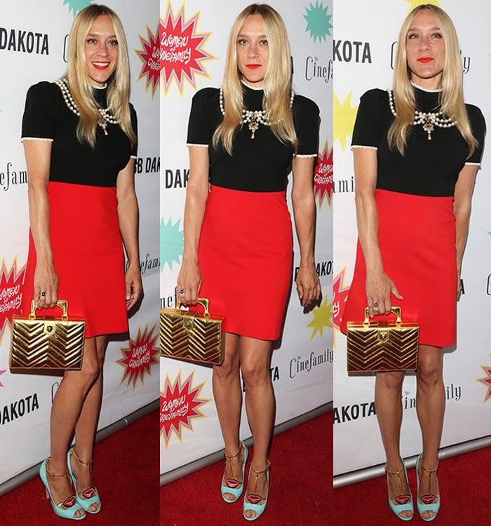 Chloe-Sevigny-black-red-Gucci-dress-pumps-turquoise-heels