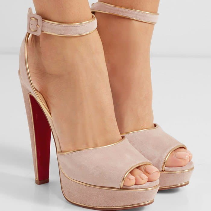 Christian Louboutin Louloudance 140 lamé-trimmed suede sandals