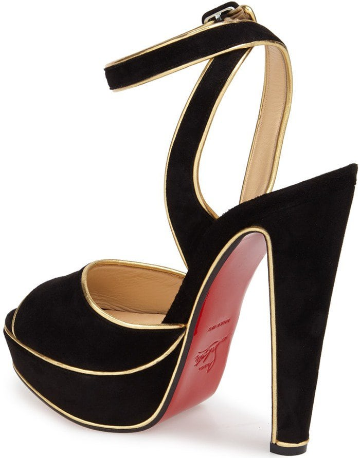 Christian Louboutin 'Louloudance' Sandals Black Gold Velour