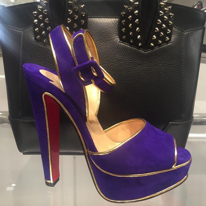 Christian Louboutin Louloudance Suede Platform Red Sole Sandal Purple