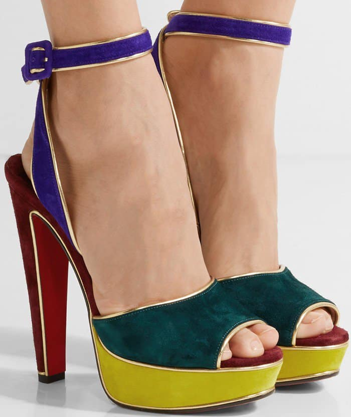 91c4d3b546bf Louloudance Sandals With Gold Lamé Piping by Christian Louboutin