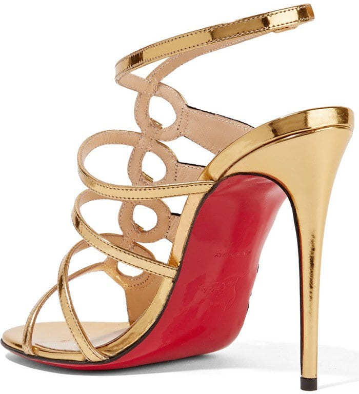 Christian Louboutin Tina Cage 100 metallic leather and suede heels