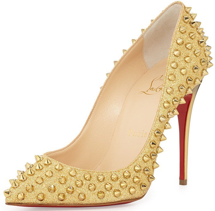 Christian LouboutinFollies Spike-Studded Glitter Red Sole Pump,