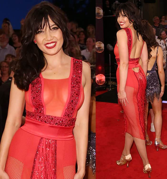 Daisy-Lowe-braless-see-through-red-dress