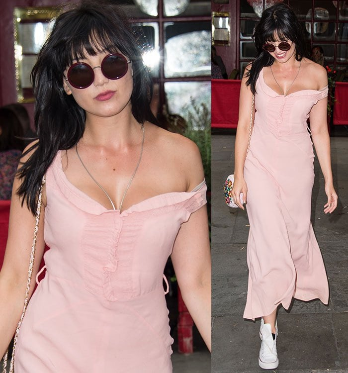 Daisy-Lowe-cleavage-pastel-pink-dress
