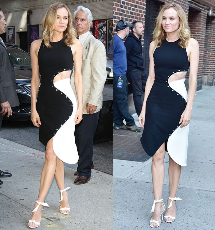 Diane Kruger in two-tone Mugler cutout dress