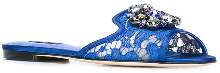 Dolce & Gabbana 'Bianca' sliders blue embellished
