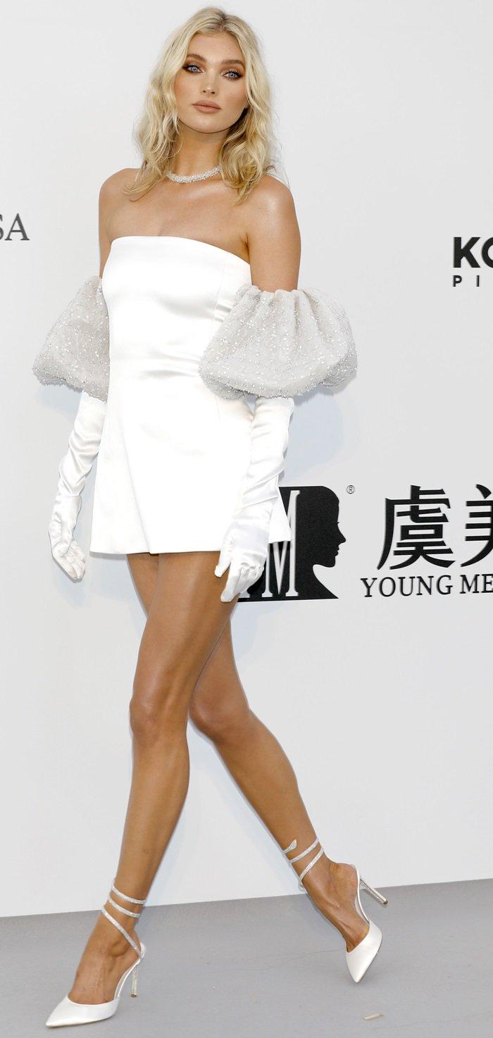 Elsa Hosk flaunted her slender legs at the 2019 amfAR Cannes Gala