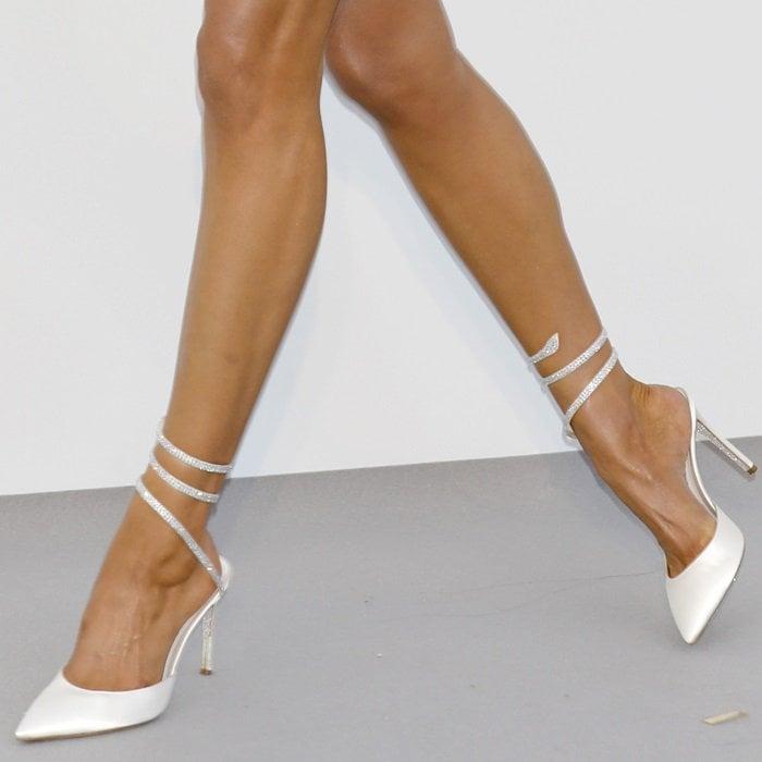 Elsa Hosk's hot feet in beige satin crystal-embellished satin pumps