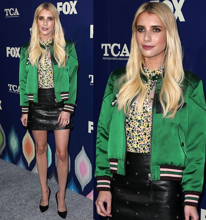 Emma-Roberts-Coach-printed-top-green-jacket-leather-skirt