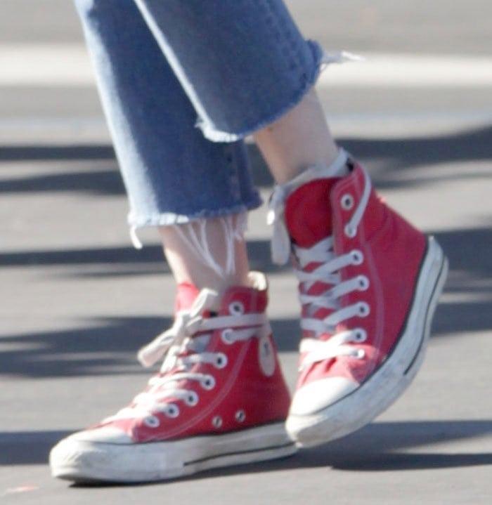 Emma-Roberts-Converse-Chuck-Taylor-High-Top-Sneakers