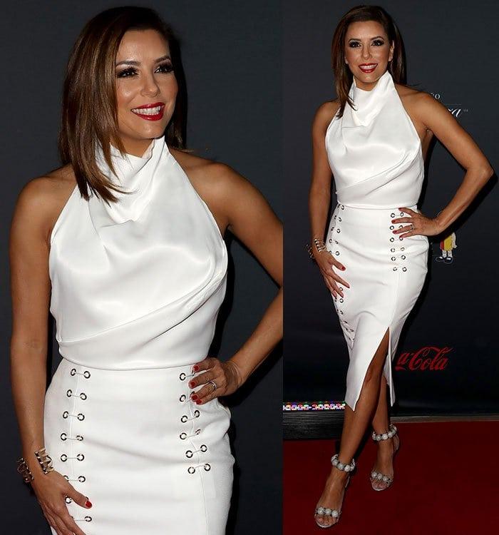 Eva-Longoria-Misha-white-top-eyelet-studded-skirt