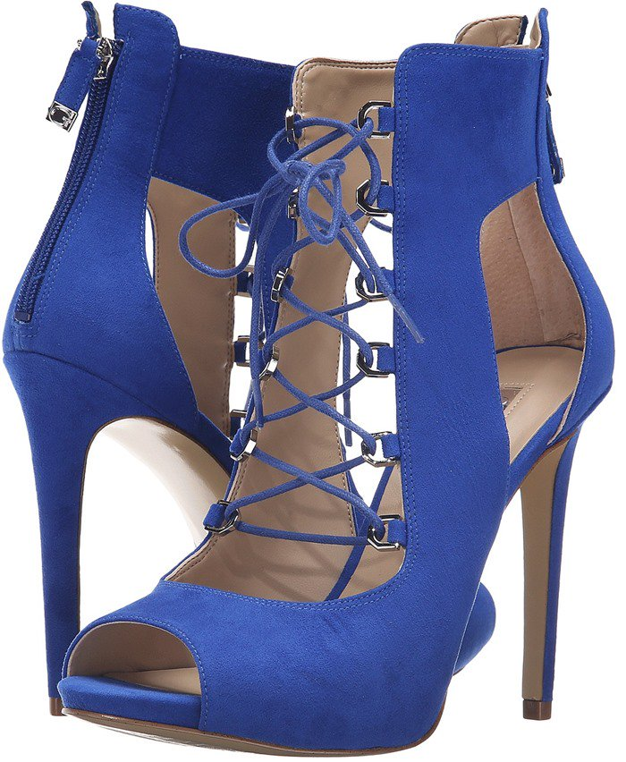 Faux-Suede GUESS 'Adelise' Lace-Up Heels in Blue