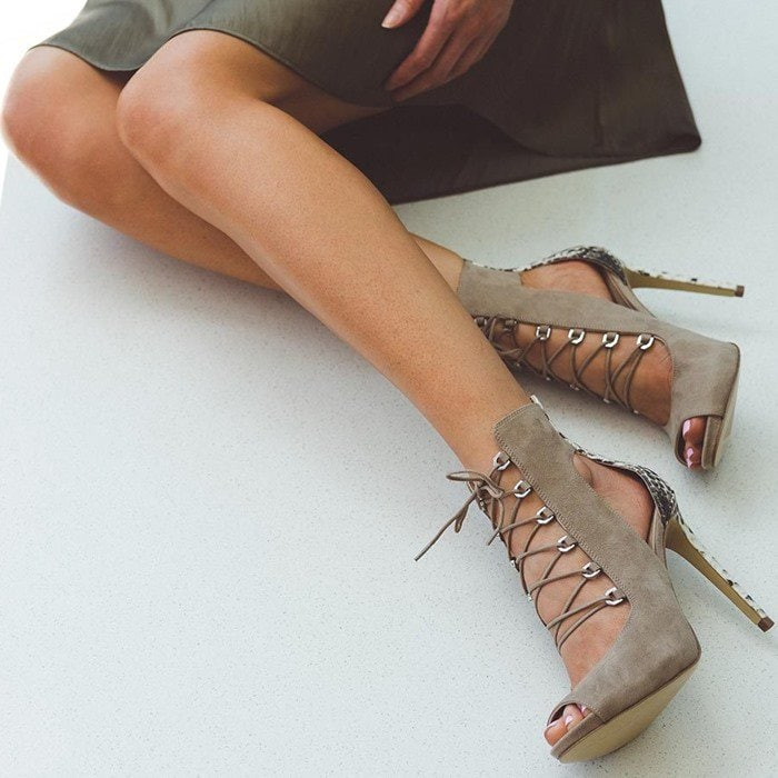 Faux-Suede GUESS 'Adelise' Lace-Up Heels Natural