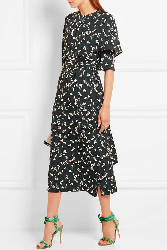 Model wearinggreen satin and lamé Gianvito Rossi sandals with a forest-green, black and cream crepe Marni dress