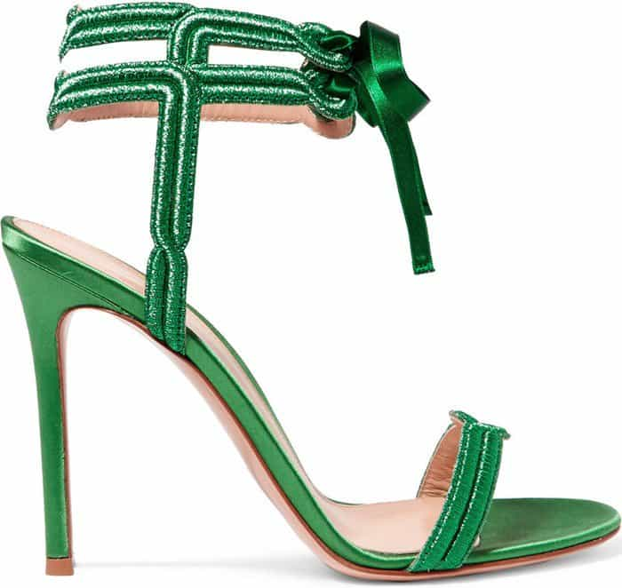 This elegant pair is designed with double lamé ankle straps and sweet ribbon ties