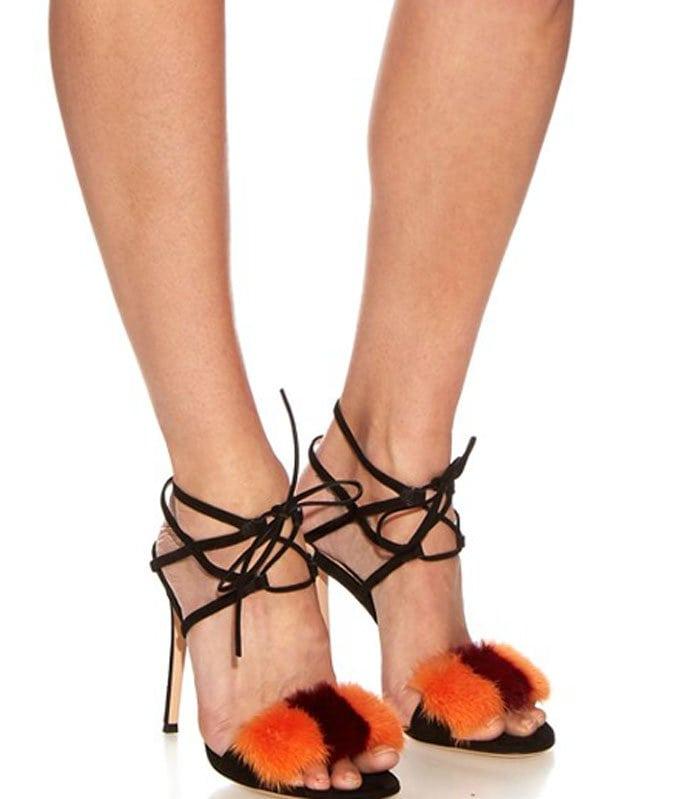 Gianvito Rossi Zelda Fur-Trimmed Sandals